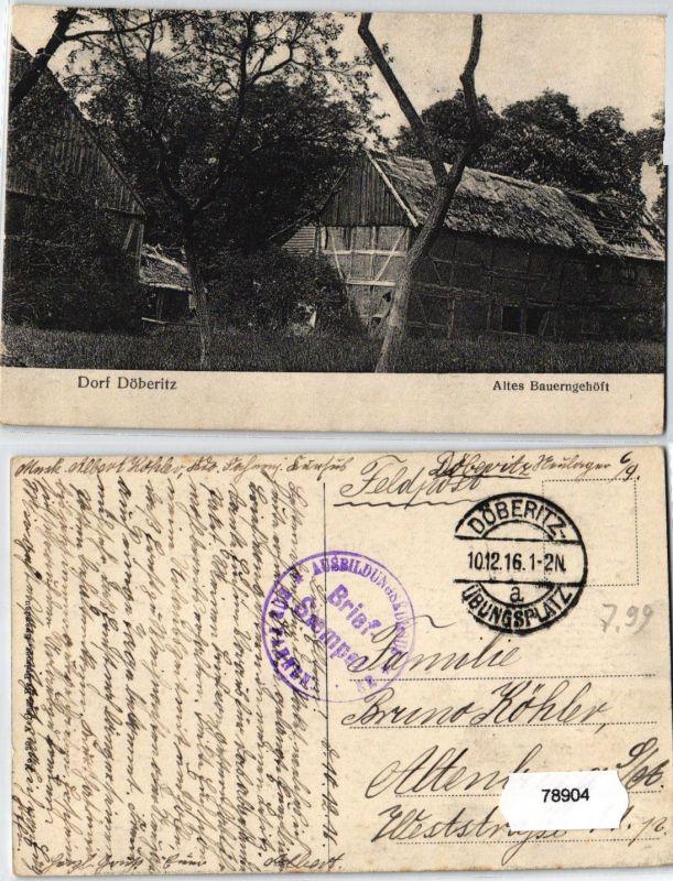 78904 Feldpost AK Dorf Döberitz - Altes Bauerngehöft - Ausbildungskursus 1916