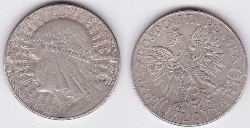 10 Zlotych Zloty Silber Münze Polen 1932, Frauenkopf Königin Jadwiga (122972)