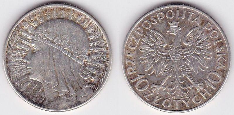 10 Zlotych Zloty Silber Münze Polen 1932, Frauenkopf Königin Jadwiga (122312)
