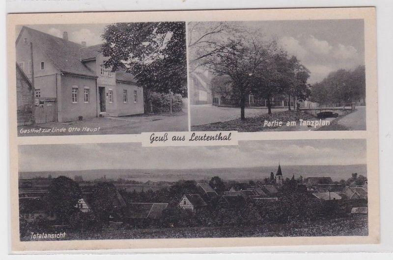 89251 AK Gruß aus Leutenthal - Gasthof zur Linde, Partie am Tanzplan & Totale