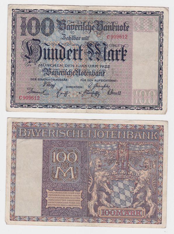 100 Mark Banknote Bayerische Notenbank München 1.Januar 1922 (124823)