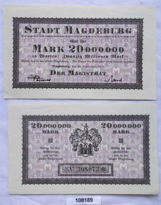 20 Millionen Mark Banknote Inflation Magdeburg 9.August 1923 (108189)