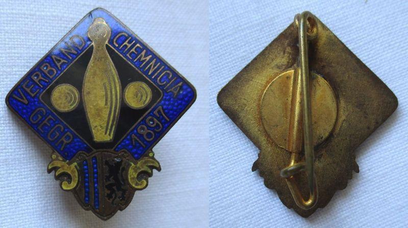 Altes Emaille Abzeichen Keglerverband Chemnicia gegründet 1897 (116342)