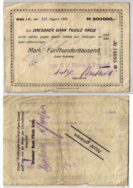 500000 Mark Banknote Inflation Dresdner Bank Greiz 10.08.1923 (123505)