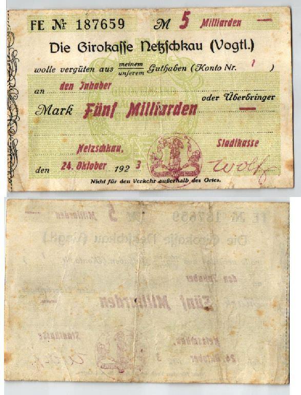 5 Milliarden Mark Banknote Inflation Girokasse Netzschkau 24.10.1923 (123530)