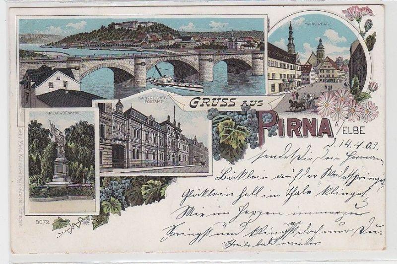 69086 Ak Lithographie Gruss aus Pirna an der Elbe 1903