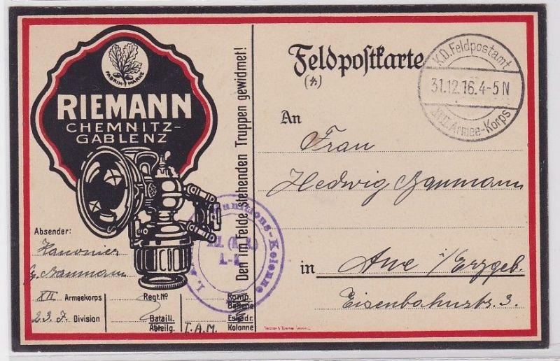 90201 Feldpost Reklame AK Riemann Chemnitz Gablenz XVII Armee Korps 1916