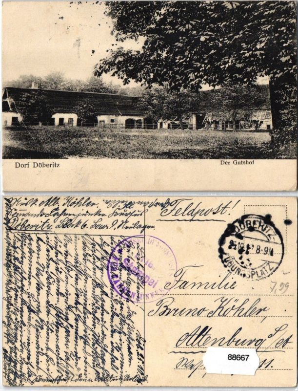 88667 Feldpost AK Dorf Döberitz - Der Gasthof, Gesamtansicht 1916