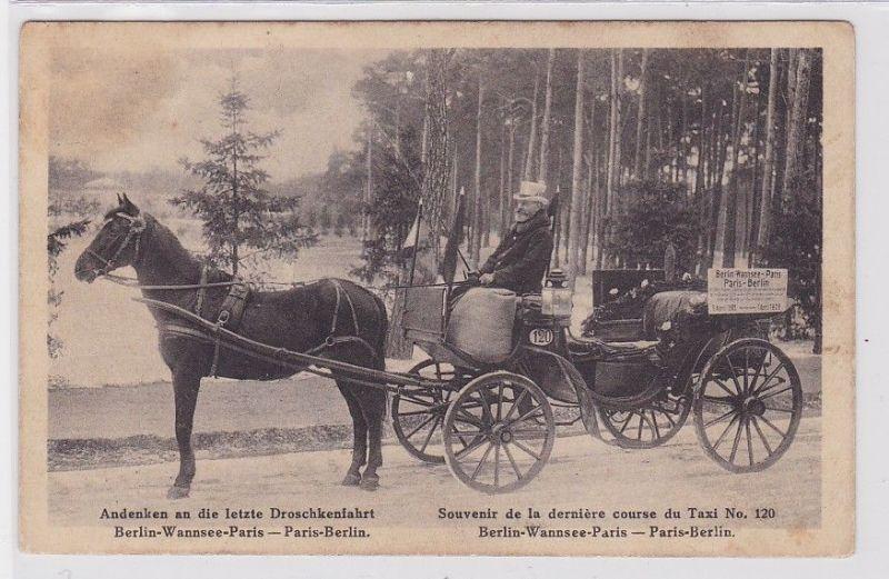 89040 AK Andenken an die letzte Droschkenfahrt Berlin-Wannsee-Paris 1885 - 1928 0