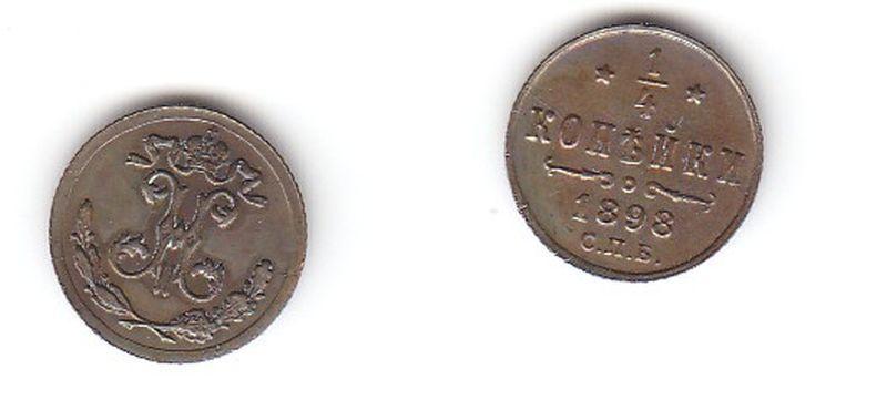 1/4 Kopeken Kupfer Münze Russland 1898 (115942)