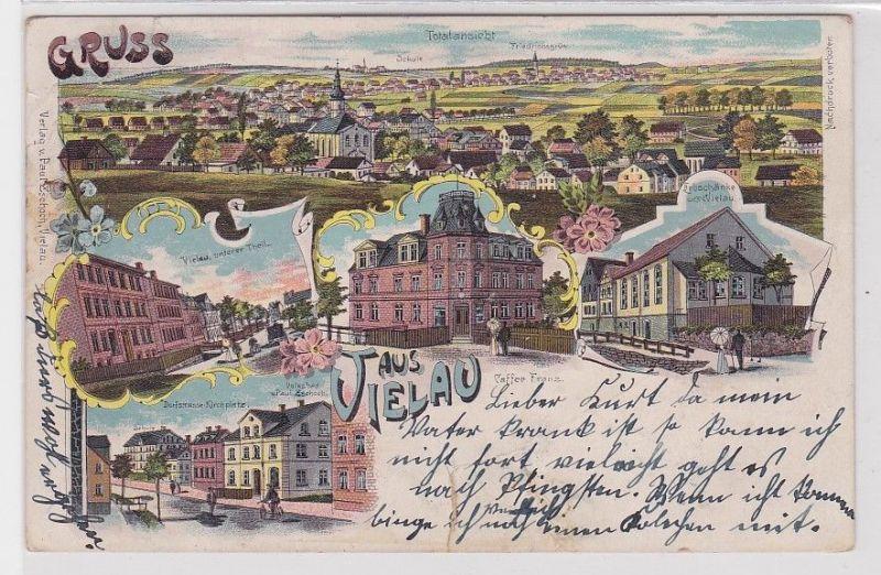 89403 Lithografie AK Gruss aus Vielau - Totalansicht, Schule, Erbschänke 1902