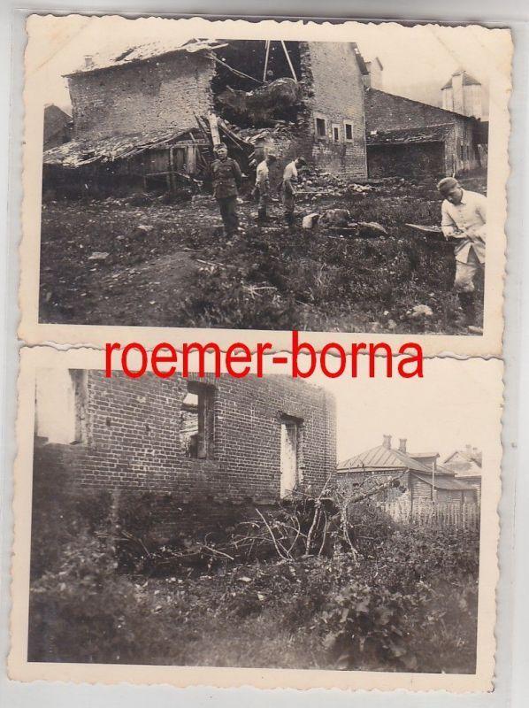 72514/2 Original Fotos Zerstörungen bei Verdun im 2.Weltkrieg