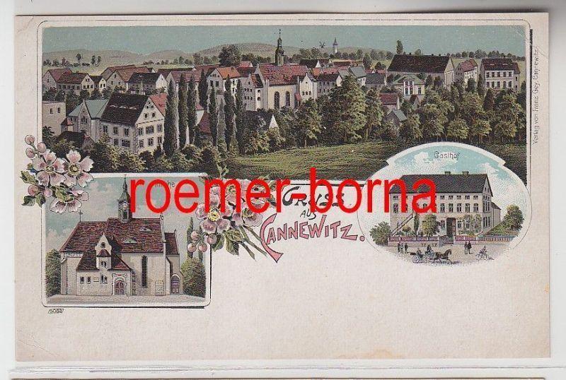 73431 Ak Lithographie Gruss aus Cannewitz Gasthof, Kirche um 1900
