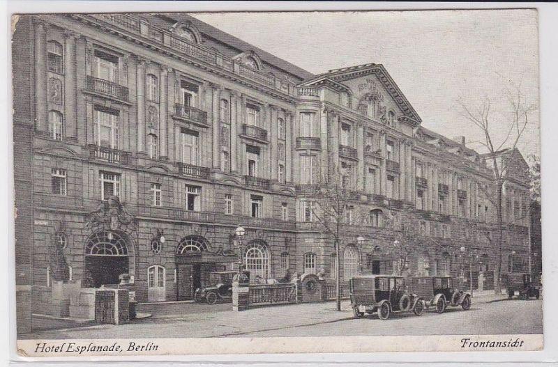 90529 AK Hotel Esplanade Berlin - Frontansicht davor Automobile um 1920