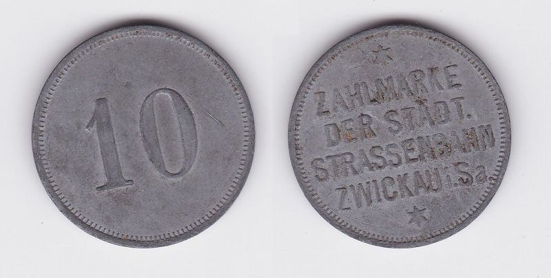 10 Pfennig Zahlmarke Zink Münze städtische Straßenbahn Zwickau (123147)