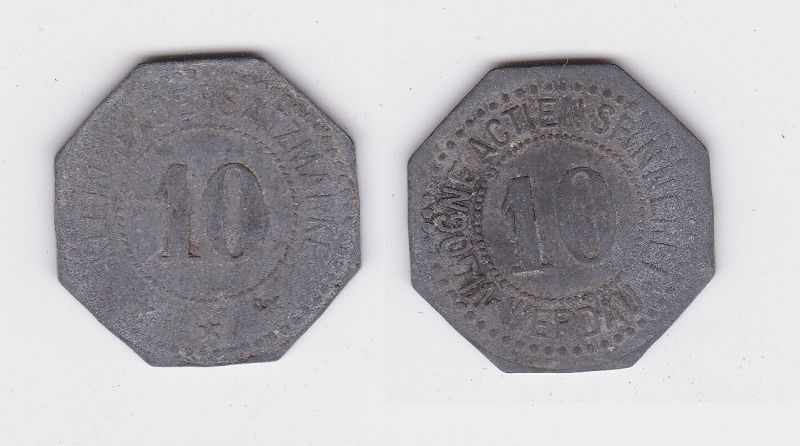 10 Pfennig Notgeld Zink Münze Vigogne Actien Spinnerei Werdau (123001)