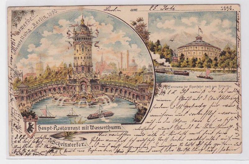 90300 AK Gewerbe Ausstellung Berlin - Haupt Restaurant mit Wasserthurm 1896 0