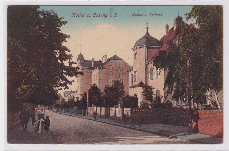 89031 Feldpost AK Kötitz bei Coswig in Sachsen - Schule & Rathaus 1917