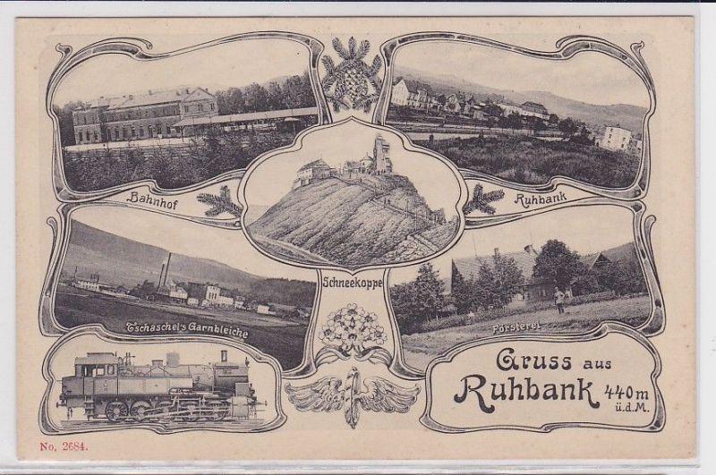 83690 Mehrbild Ak Gruß aus Ruhbank Bahnhof usw. um 1910