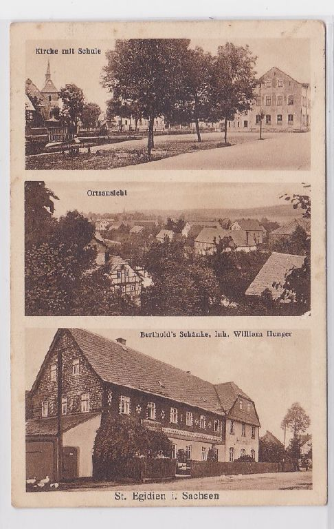 84585 Mehrbild Ak St.Egidien in Sachsen Bertholds Schänke, Schule usw. um 1925