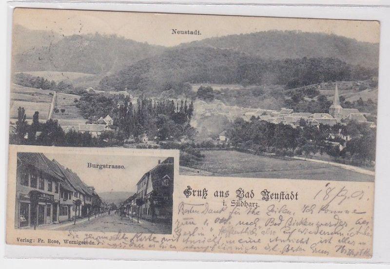 36107Mehrbild Ak Gruß aus Bad Neustadt im Südharz Burgstraße 1901