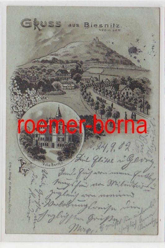 75338 Mondscheinkarte Gruss aus Biesnitz Villa Bertha 1902