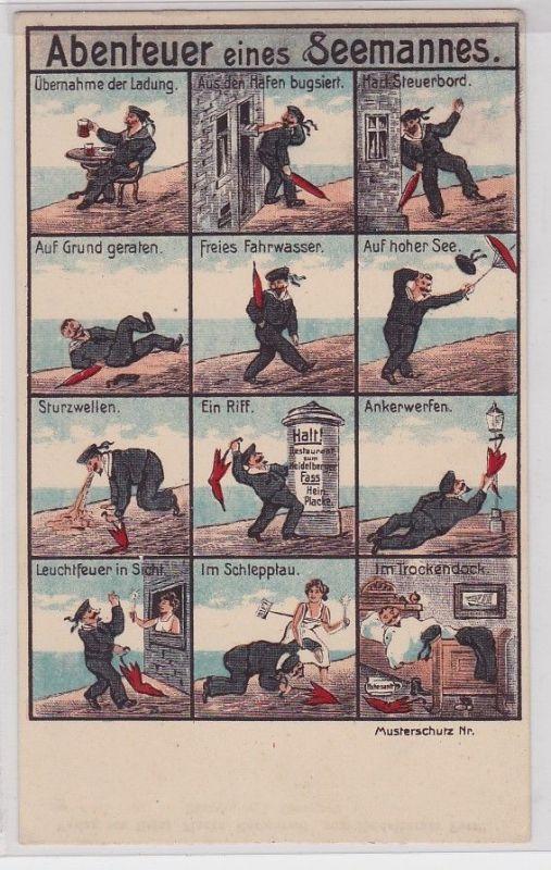 90630 Humor Ak Abenteuer eines Seemannes um 1915