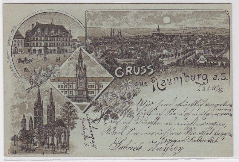 70919 Lithografie AK Gruss aus Naumburg a.S., Rathaus, Kriegerdenkmal & Dom 1898
