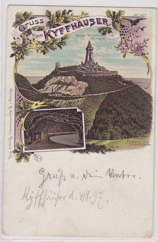 87237 Lithografie AK Gruss vom Kyffhäuser - Kaiser Wilhelm Denkmal Panorama 1897