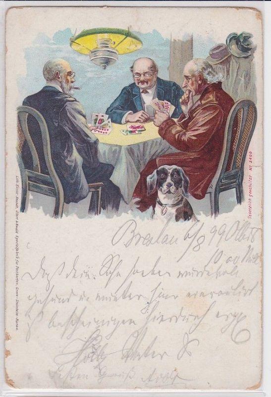 91327 Künstler AK Männerrunde beim Poker spielen, Hund als Beobachter 1899