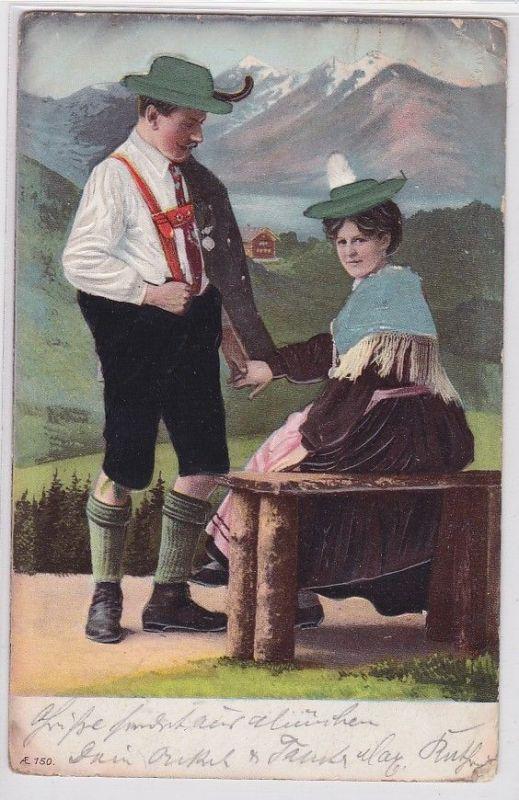 89622 Material Präge AK bayerisches Paar in Tracht vor Bergpanorama 1907