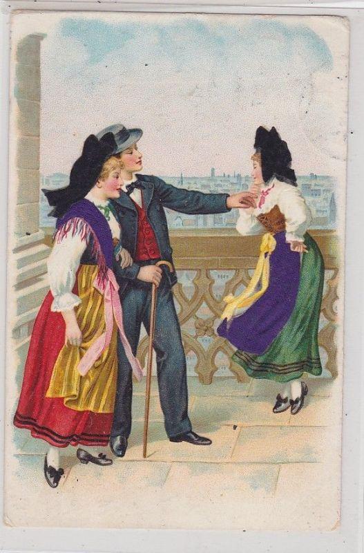 89621 Künstler AK Straßburg - Anzugträger spricht mit in Tracht gekleideter Frau