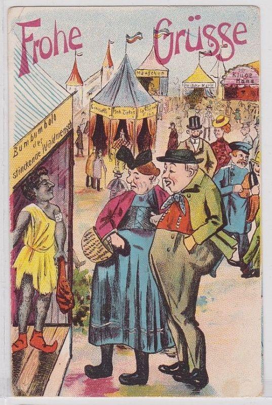 41226 Humor AK Frohe Grüsse - Bumbumbolo, Jahrmarkt, staunendes Ehepaar um 1910