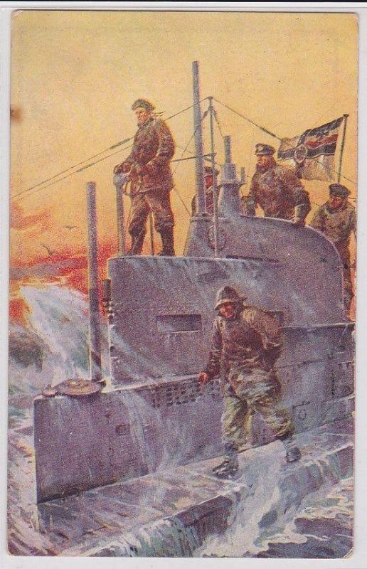 91254 Militär AK Prof. Willy Stöwer auf dem Kommandoturm eines U-Bootes um 1916