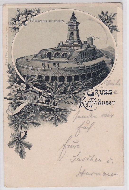 91384 AK Gruss vom Kyffhäuser - Kaiser Wilhelm Denkmal, Gesamtansicht 1902