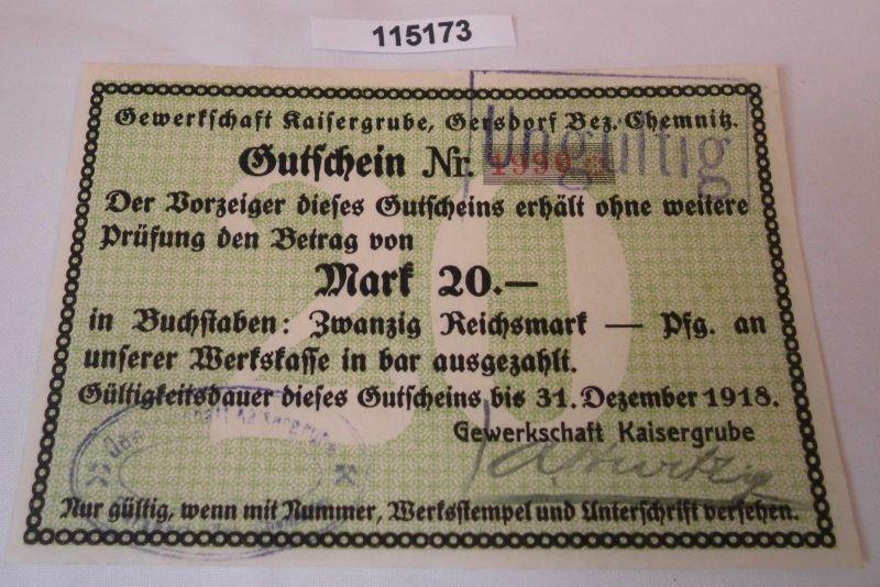 20 Mark Banknote Notgeld Gewerkschaft Kaisergrube Gersdorf Bez.Chemnitz (115173)