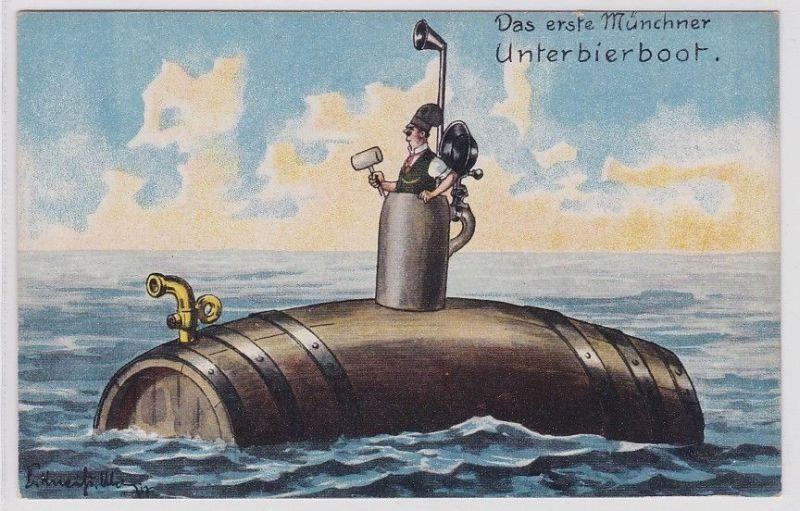 90101 Künstler AK Das erste Münchner Unterbierboot um 1920