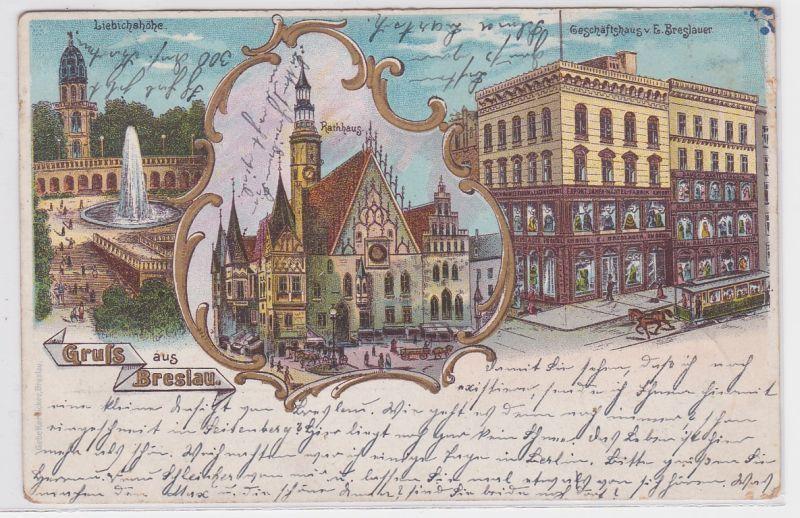 87705 Ak Lithographie Gruss aus Breslau Geschäftshaus usw. 1901