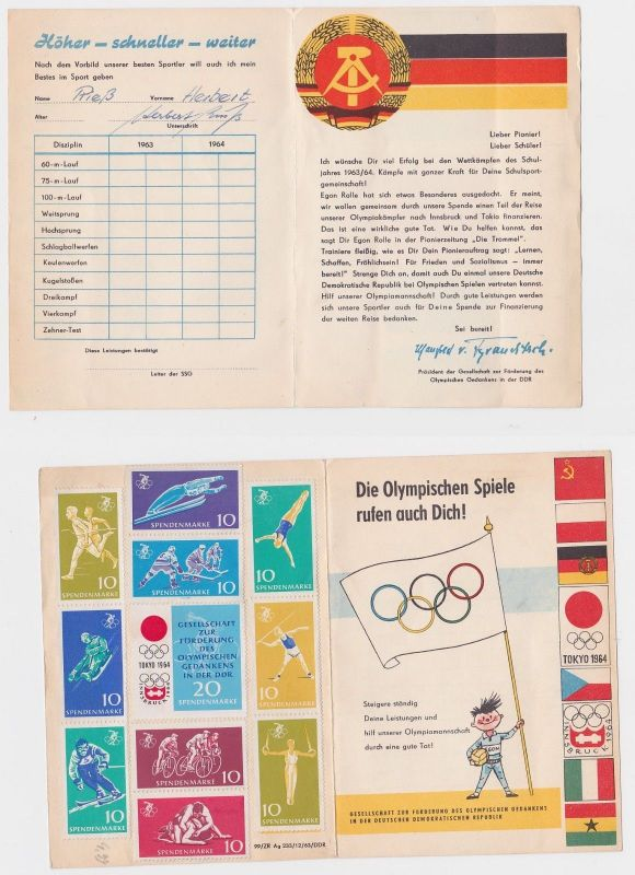 89665 Heft Gesellschaft zur Förderung des Olympischen Gedankens in der DDR 1964