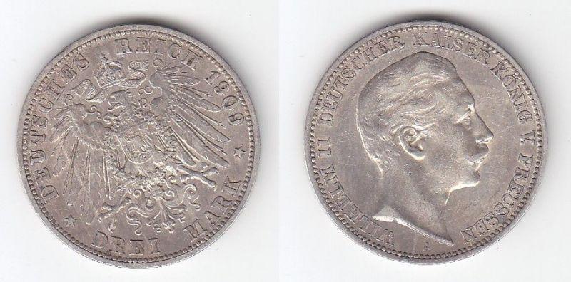 3 Mark Silber Münze Preussen Kaiser Wilhelm II 1909 (114463)