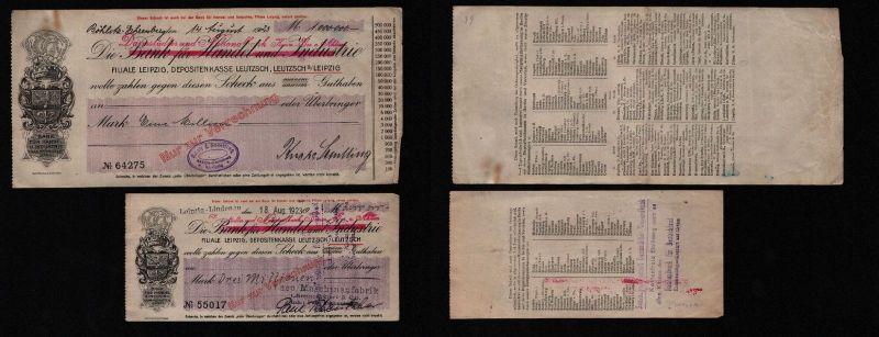 2 seltene Banknoten Inflation Leipzig Leutzsch 1923 (122530)