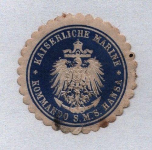 Seltene Vignette Siegelmarke kais.Marine Kommando S.M.S. Hansa (122061)