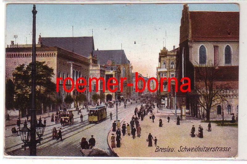 04240 Ak Breslau Schweidnitzerstrasse 1912