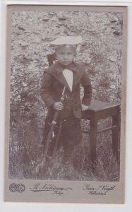 70967 Original Kabinett Foto Greiz Kind mit Karabiner um 1915