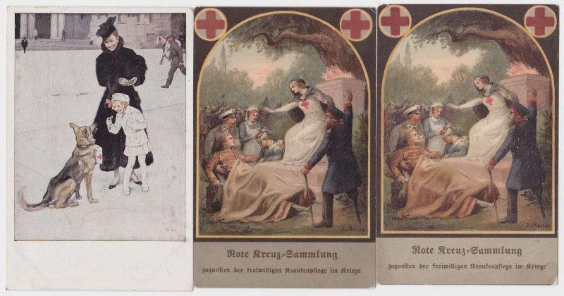 89640/3 Patriotika Ak Rotes Kreuz um 1916