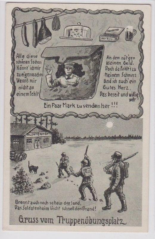 90677 Militär AK Gruss vom Truppenübungsplatz, Reimkarte als Bettelkarte um 1916