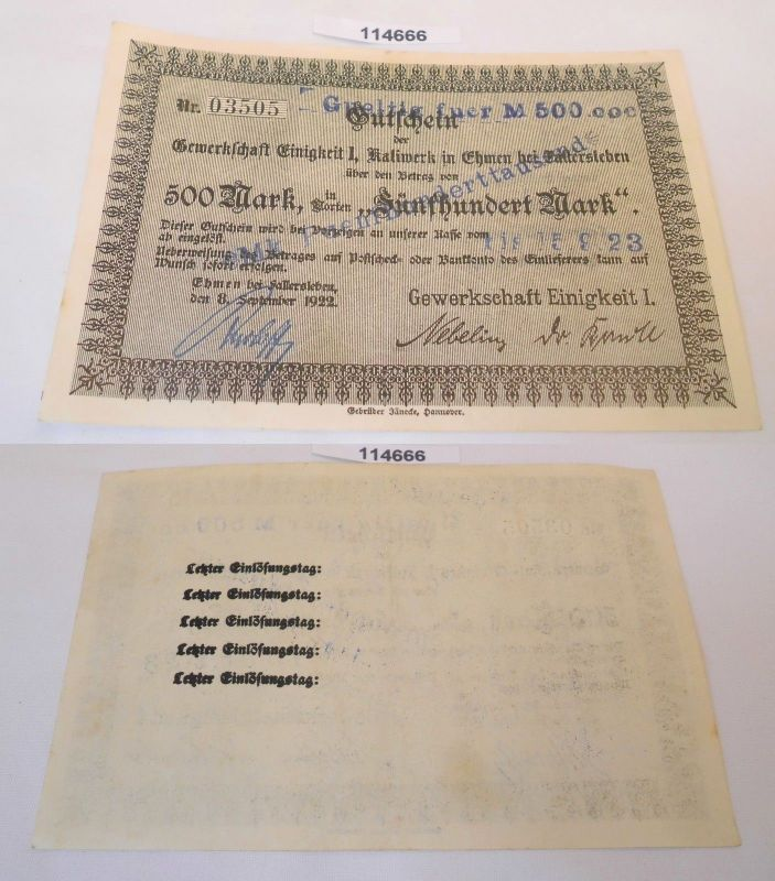 500 Mark Banknote Notgeld Stadt Ehmen bei Fallersleben 8.September 1922 (114666)