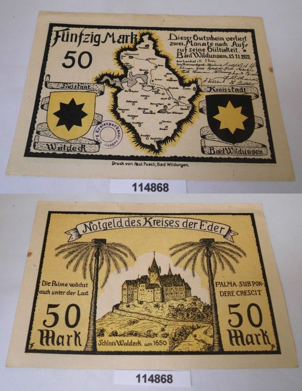 50 Mark Banknote Notgeld Bad Wildungen 15.11.1922 (114868)