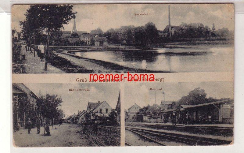 73120 Mehrbild Ak Gruß aus Kunersdorf (West Sternberg) Bahnhof usw. um 1930