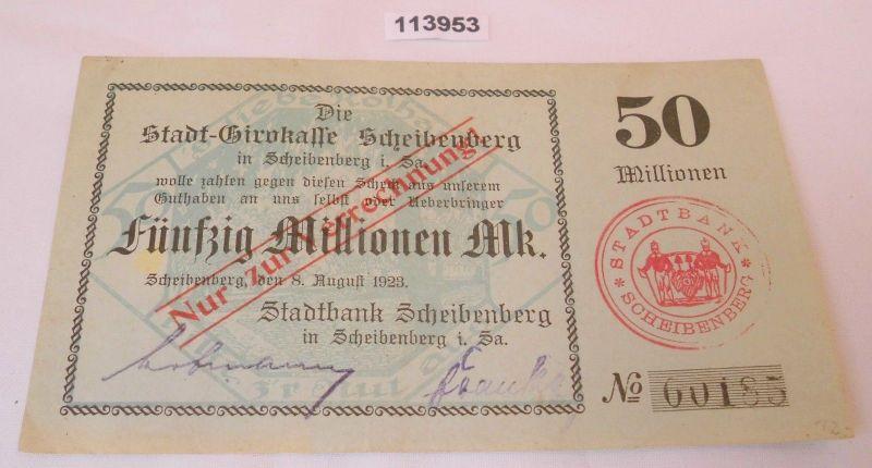 50 Millionen Mark Banknote Inflation Stadtbank Scheibenberg 8.8.1923 (113953)